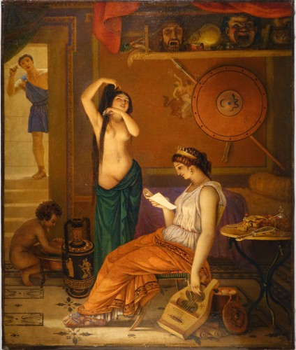 """Actors in the backstage in ancient Greece"", att. Lecomte du Noüy"