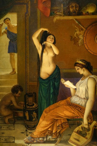 """""""Actors in the backstage in ancient Greece"""", att. Lecomte du Noüy - Paintings & Drawings Style Napoléon III"""
