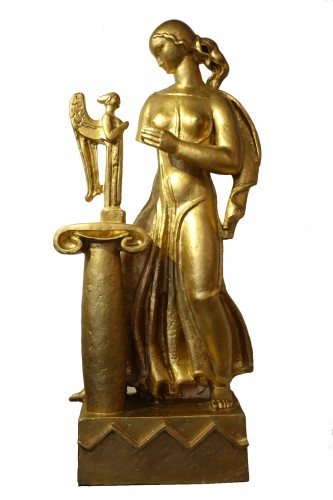 Antique subject, gilded terracotta, A. Bizette-Lindet ( 1906-1998)