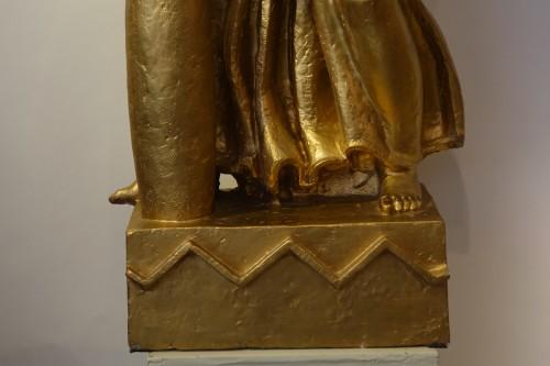 Antique theme gilt terracotta, A. Bizette-Lindet ( 1906-1998) - Sculpture Style Art Déco