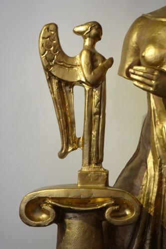 Sculpture  - Antique theme gilt terracotta, A. Bizette-Lindet ( 1906-1998)