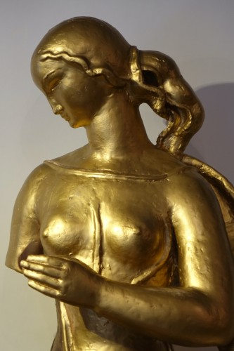Antique theme gilt terracotta, A. Bizette-Lindet ( 1906-1998) -