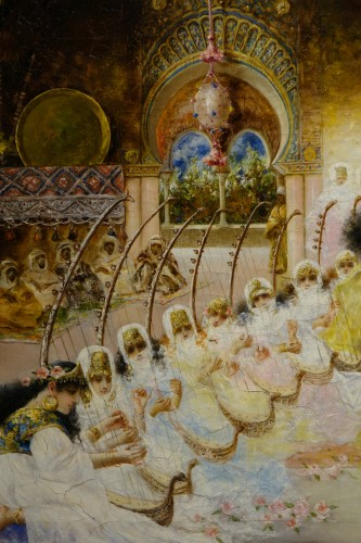 """Paintings & Drawings  - """"A young dancer in front of a sultan"""", A. RIVAS, circa 1890"""