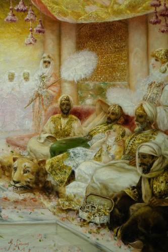 "19th century - ""A young dancer in front of a sultan"", A. RIVAS, circa 1890"
