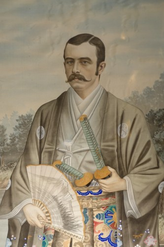 Full-length portrait of a Westerner in samurai dress, circa 1890. - Asian Works of Art Style