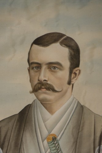 Full-length portrait of a Westerner in samurai dress, circa 1890. -