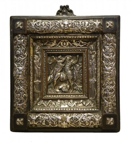 Embossed metal plate with allegorical figures, Prague 16th century
