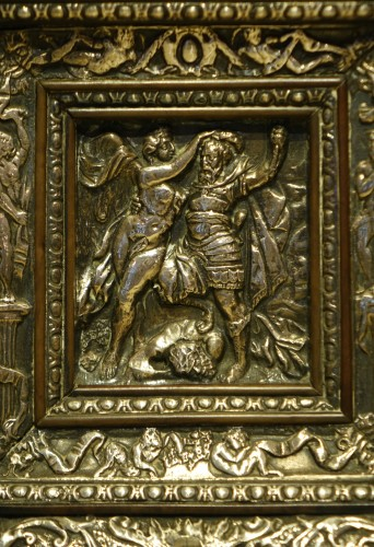 Religious Antiques  - Embossed metal plate with allegorical figures, Prague 16th century