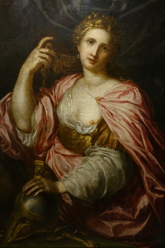 """""""Athena"""", oil on canvas, Italy, early 17th century."""