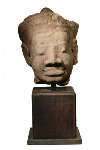 Head of Dvarapala(?), Khmer Art, The Bayon, 12th-13th century.