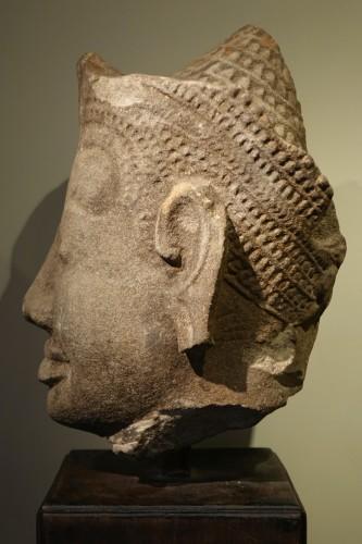 Head of Dvarapala(?), Khmer Art, The Bayon, 12th-13th century. - Asian Works of Art Style