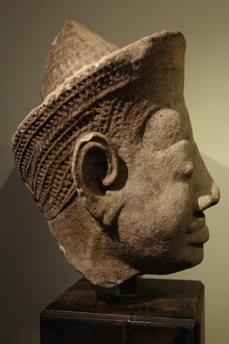 Asian Works of Art  - Head of Dvarapala(?), Khmer Art, The Bayon, 12th-13th century.