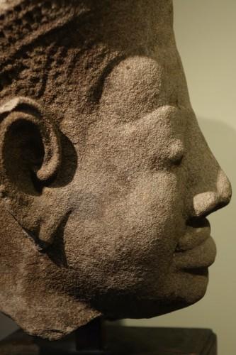 Head of Dvarapala(?), Khmer Art, The Bayon, 12th-13th century. -