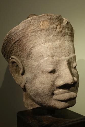 - Head of Dvarapala(?), Khmer Art, The Bayon, 12th-13th century.