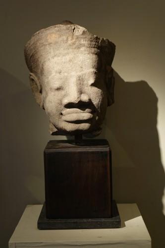 Antiquités - Head of Dvarapala(?), Khmer Art, The Bayon, 12th-13th century.