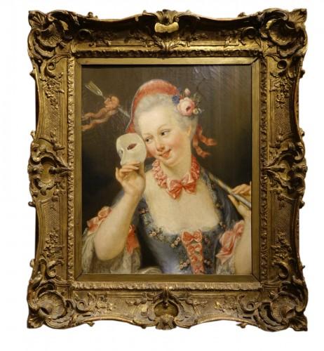 """Young shepherdess holding a  Venitian carnaval mask signed SERRUR, circa 1"