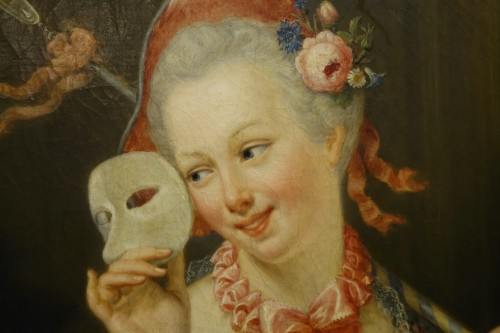 """""""Young shepherdess holding a  Venitian carnaval mask signed SERRUR, circa 1 - Paintings & Drawings Style Louis-Philippe"""