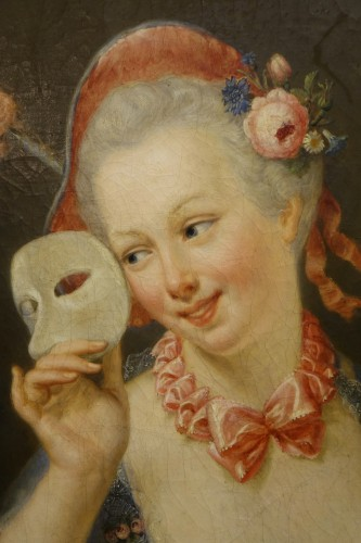 """Paintings & Drawings  - """"Young shepherdess holding a  Venitian carnaval mask signed SERRUR, circa 1"""