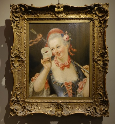 "Antiquités - ""Young shepherdess holding a  Venitian carnaval mask signed SERRUR, circa 1"