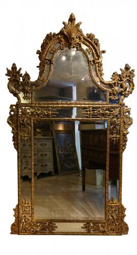 Very large gilt wood Regency period mirror, France, circa 1720