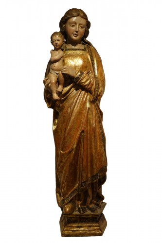 Very impressive Virgin and Child, giltwood and polychrome, Italy, 15th c.