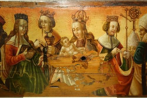 Religious Antiques  - Predella(?) representing a Nativity and several saints, Bavaria, circa 1520