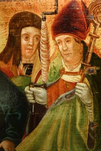 Antiquités - Predella(?) representing a Nativity and several saints, Bavaria, circa 1520