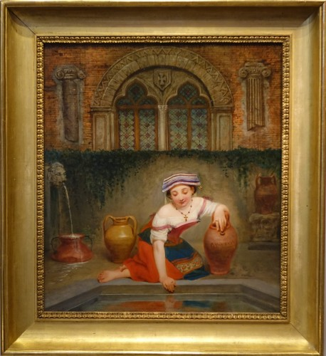 """""""Young Roman girl at the fountain"""", P. Van Brée ( 1786-1871) - Paintings & Drawings Style"""