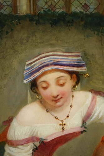 "Paintings & Drawings  - ""Young Roman girl at the fountain"", P. Van Brée ( 1786-1871)"
