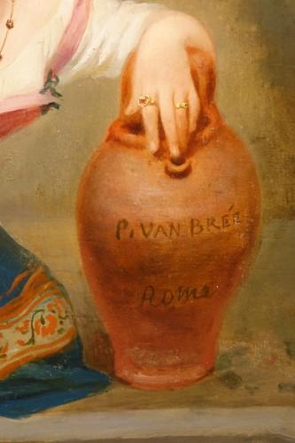 "- ""Young Roman girl at the fountain"", P. Van Brée ( 1786-1871)"
