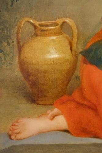 """Antiquités - """"Young Roman girl at the fountain"""", P. Van Brée ( 1786-1871)"""