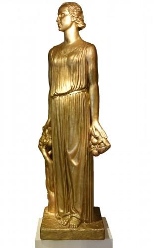Original Large Gilt Plaster Sculpture ,signed Alexandre Descatoires ,1939