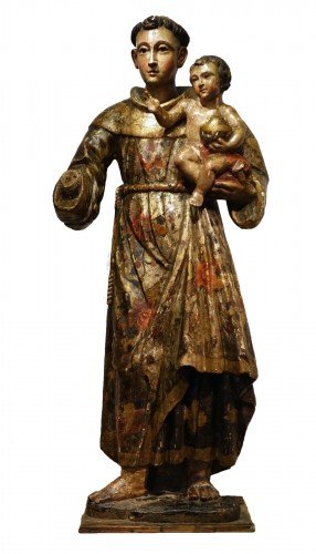 Saint Anthony of Padua, polychrome sculpture in the round, 17th century.