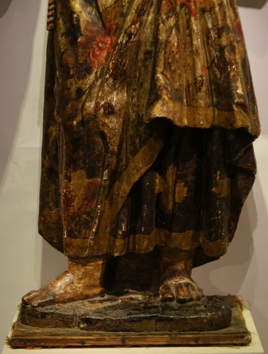 Sculpture  - Saint Anthony of Padua, polychrome sculpture in the round, 17th century.