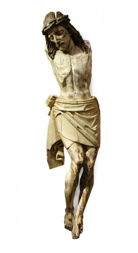 A Very large carved oak Christ, France, 16th century.