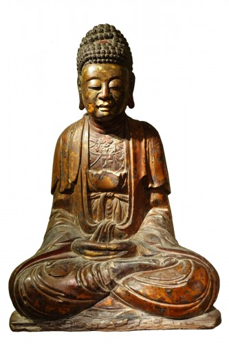 Large lacquered Buddha, China, early 19th c.