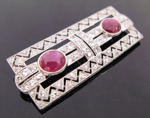 Art deco diamonds and rubies brooch - Antique Jewellery Style Art Déco