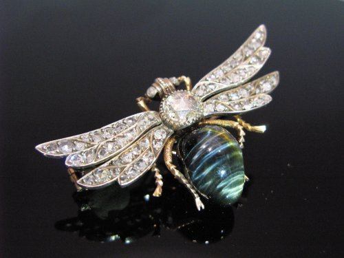 "19th century diamonds and chrysoberyl brooch ""insect"""
