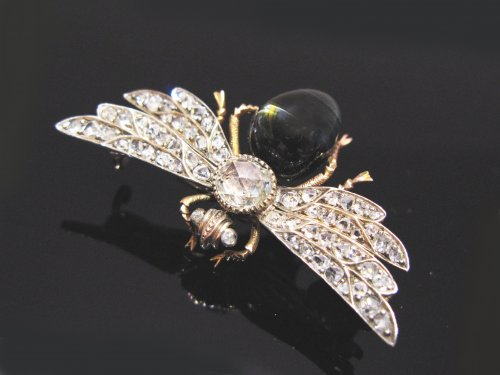 "19th century diamonds and chrysoberyl brooch ""insect"" - Antique Jewellery Style Napoléon III"