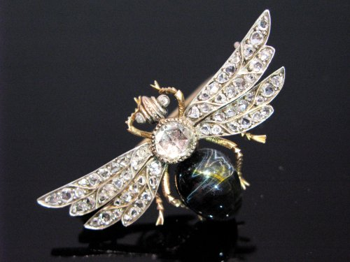 "19th century diamonds and chrysoberyl brooch ""insect"" -"