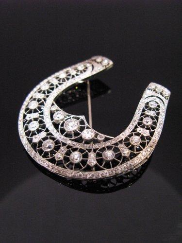 "Brooch ""belle epoque"" horseshoe decor - Antique Jewellery Style"