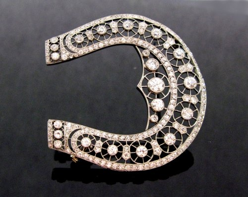 "Antique Jewellery  - Brooch ""belle epoque"" horseshoe decor"