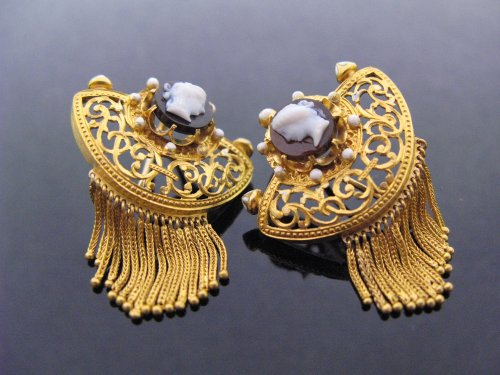 Pair of gothic revival earrings, cornelian cameos