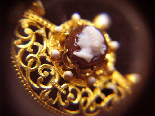 Pair of gothic revival earrings, cornelian cameos -