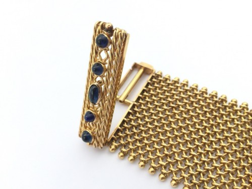 Cuff bracelet in gold and sapphires around 1940 - Antique Jewellery Style