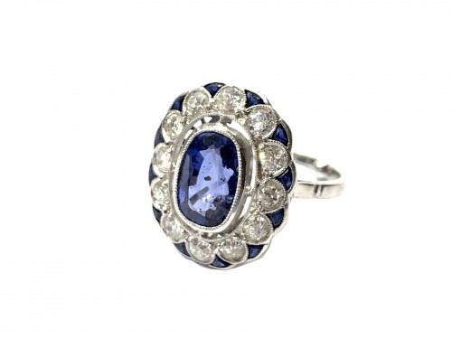 Bague Saphir et diamants 1920
