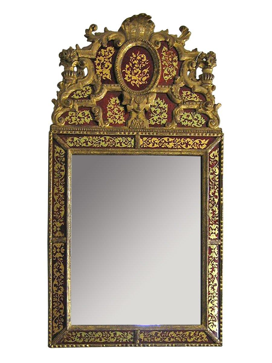 Grand miroir en verre glomis et bois dor d 39 39 poque for Miroir louis xiv