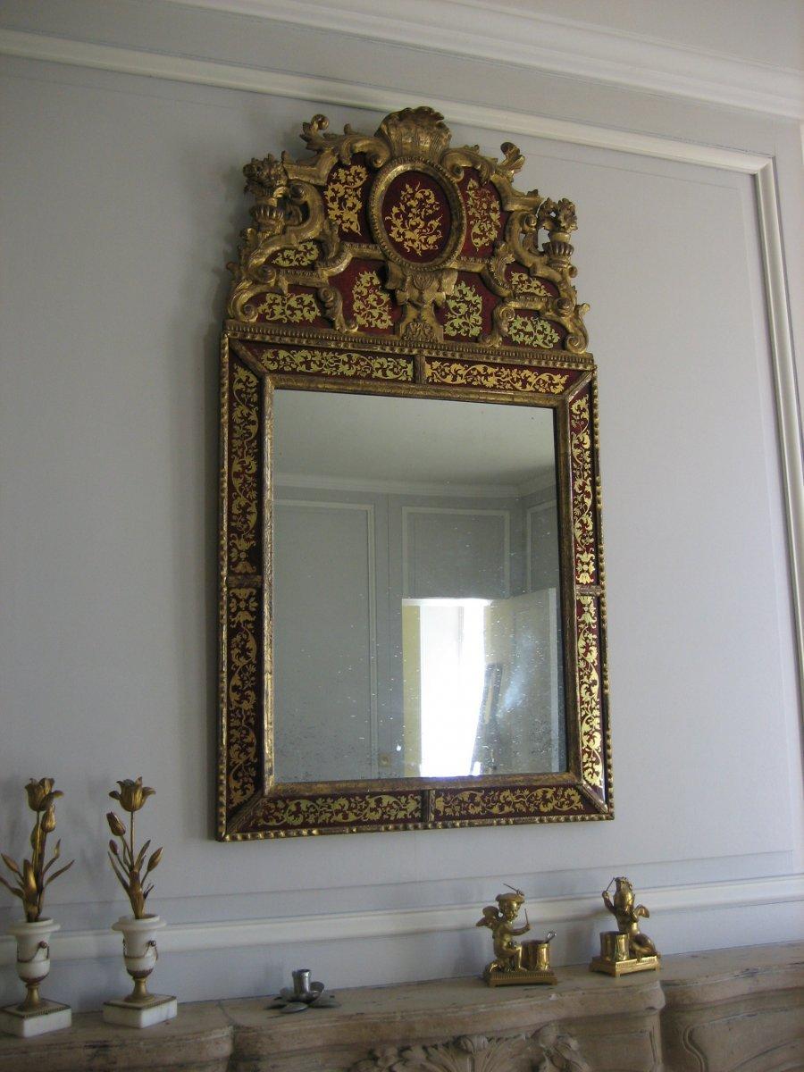grand miroir en verre glomis et bois dor d 39 39 poque louis xiv xviiie si cle. Black Bedroom Furniture Sets. Home Design Ideas