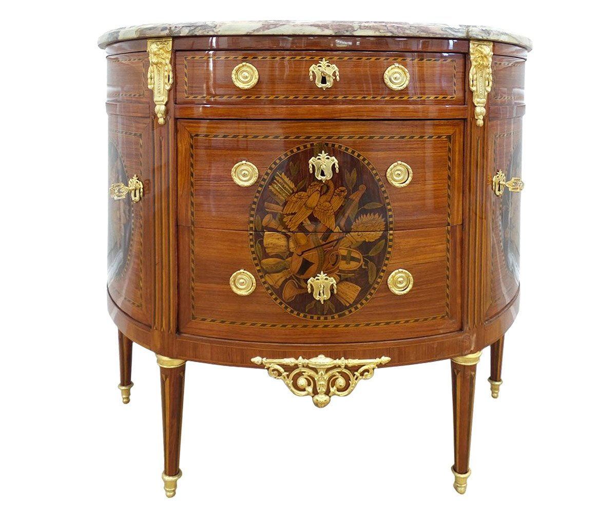 commode demi lune poque louis xvi estampill e birckle xviiie si cle. Black Bedroom Furniture Sets. Home Design Ideas