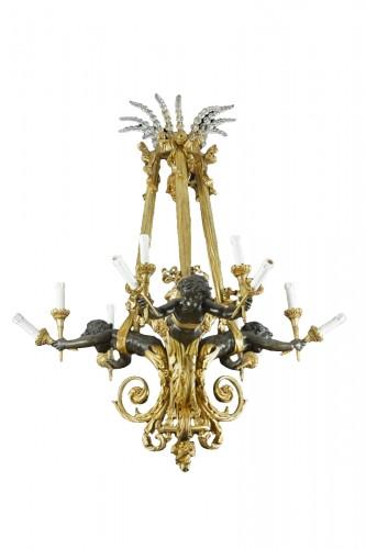 19 th century gilt bronze chandelier